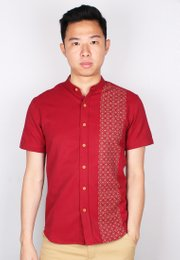 Oriental Rings Print Mandarin Collar Short Sleeve Shirt RED (Men's Shirt)
