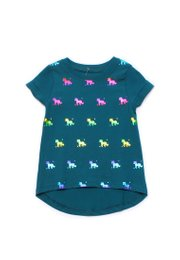 Shiny Psychedelic Unicorns Print T-Shirt TURQUOISE (Girl's Top)