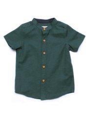 Brushed Cotton Classic Mandarin Collar Short Sleeve Shirt GREEN (Boy's Shirt)