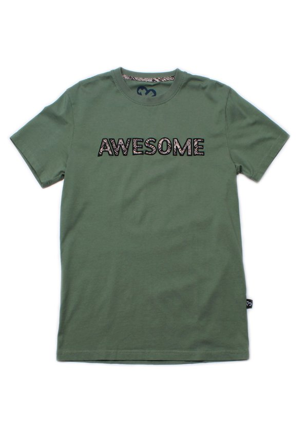 Aztec AWESOME Embroidery T-Shirt GREEN (Men's T-Shirt)