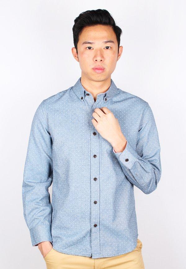 Polka Dot Long Sleeve Shirt NAVY (Men's Shirt)