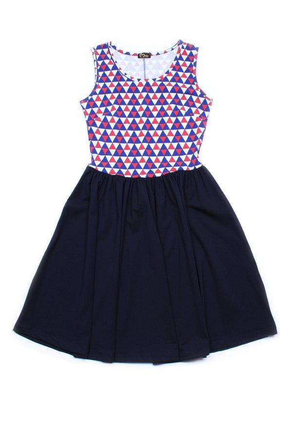 Duotone Geometric Triangle Mosaic Skater Dress NAVY (Ladies' Dress)