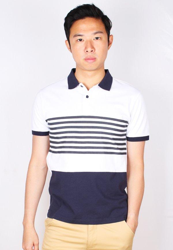 Striped Colour Block Polo T-Shirt NAVY (Men's Polo)