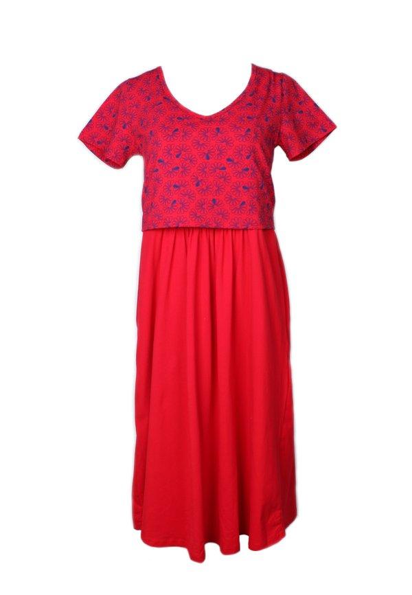 Floral Patterned Print Nursing Skater Dress RED (Ladies' Dress)
