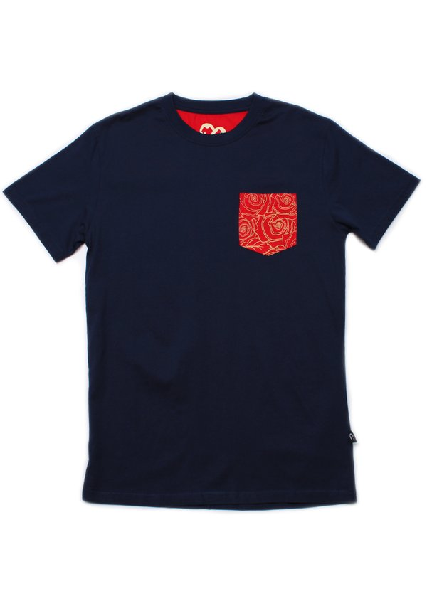 Floral Print Pocket T-Shirt NAVY (Men's T-Shirt)