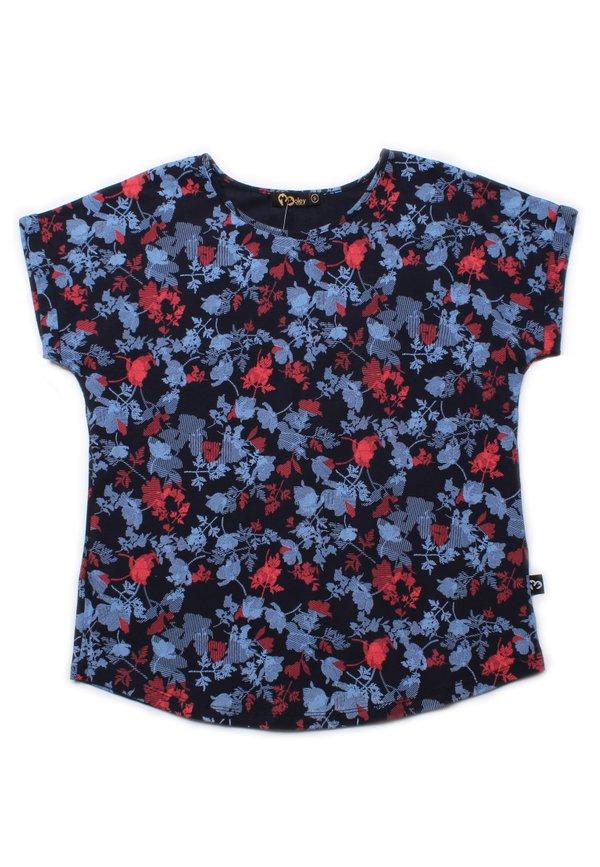 Leaves Print Blouse NAVY (Ladies' Top)