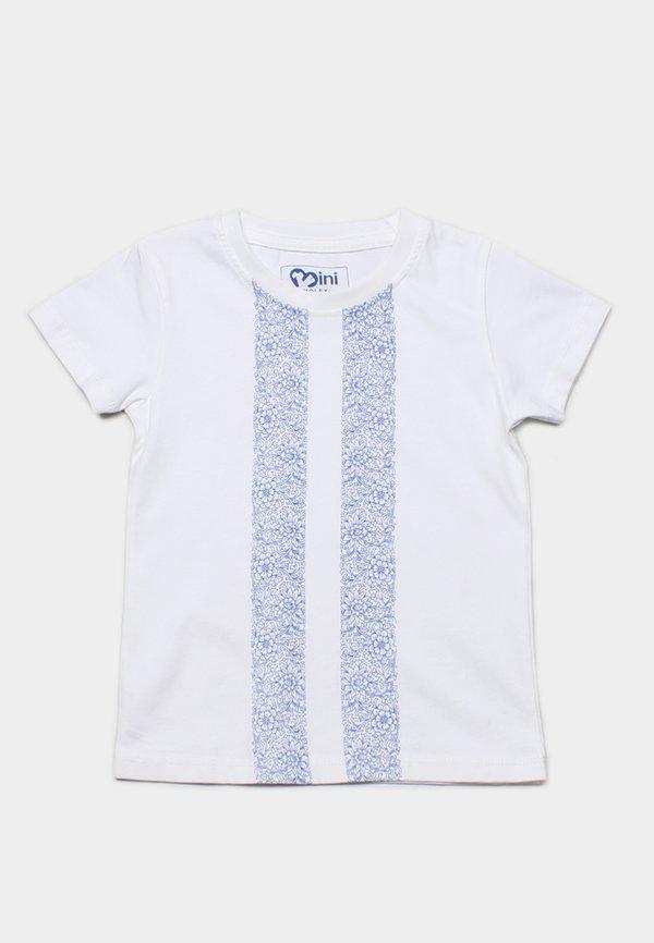 Floral Printed Twin Stripe T-Shirt WHITE  (Boy's T-Shirt)