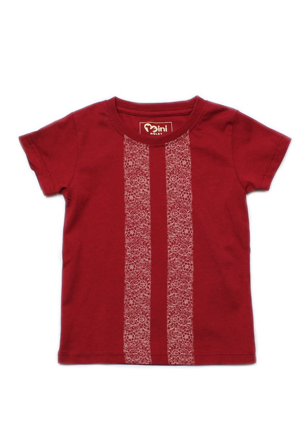 Floral Printed Twin Stripe T-Shirt RED  (Boy's T-Shirt)