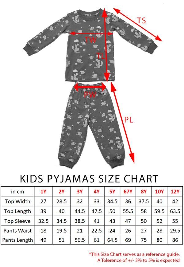 Cactus Print Pyjamas Set GREY  (Kids' Pyjamas)