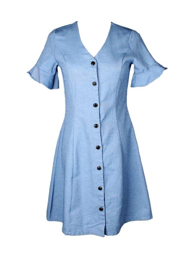 Brushed Cotton Button Down Dress DARKBLUE (Ladies' Dress)