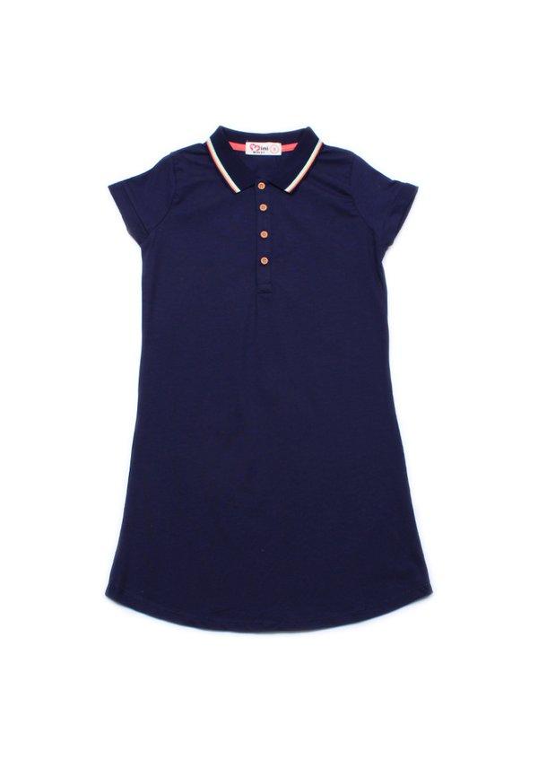 Tri Tipped Polo Shift Dress NAVY (Girl's Dress)