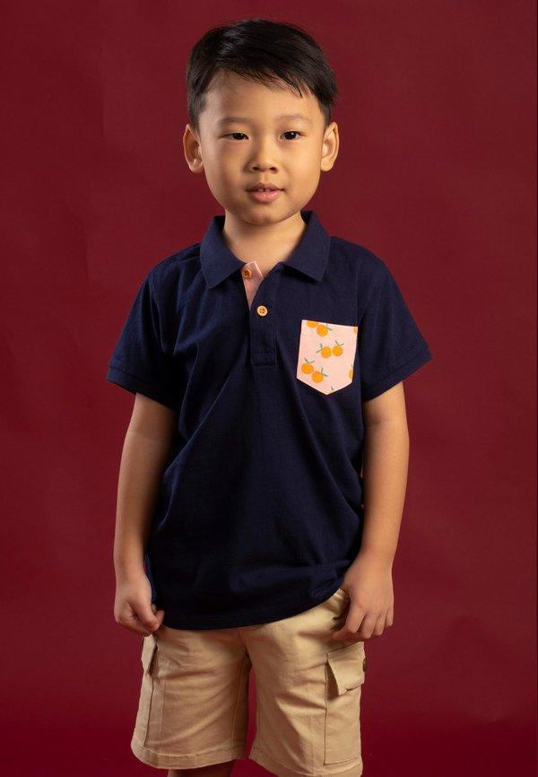 Mandarin Orange Print Pocket Polo T-Shirt NAVY (Boy's T-Shirt)
