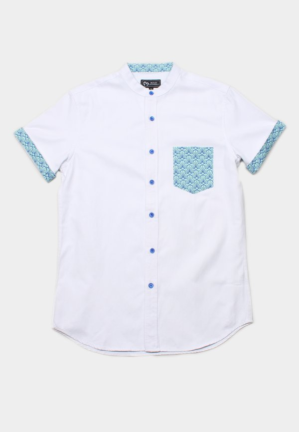 Seashell Print Pocket Mandarin Collar Short Sleeve Shirt WHITE (Men's Shirt)
