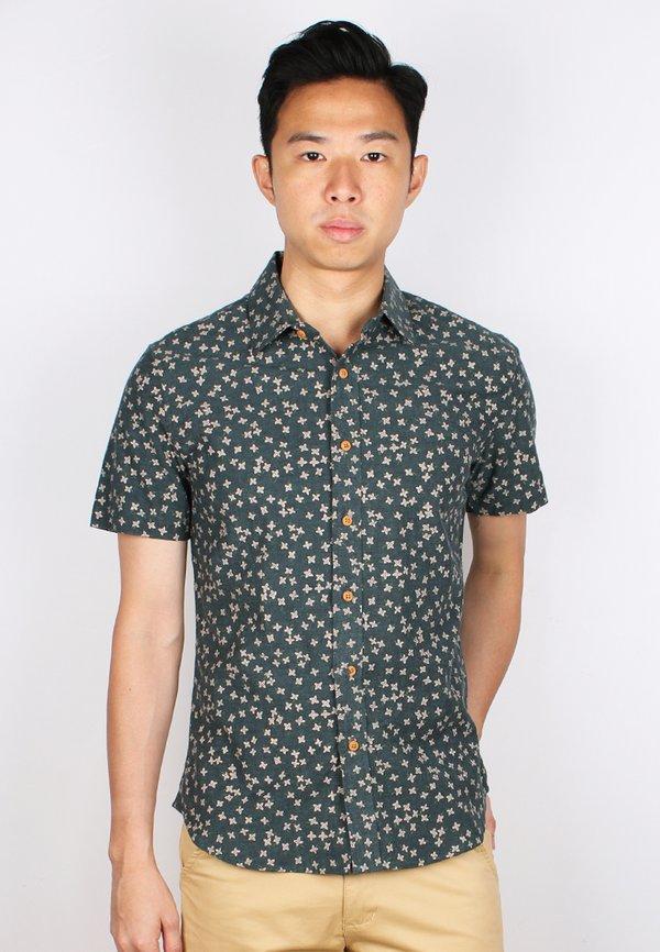 Floral Motif Short Sleeve Shirt GREEN (Men's Shirt)