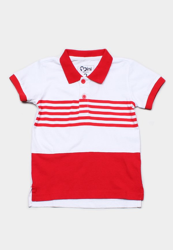 Striped Colour Block Polo T-Shirt RED (Boy's T-Shirt)