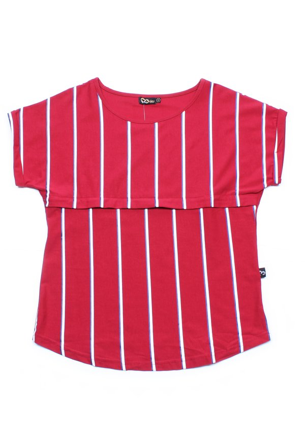 Shadow Stripes Nursing Blouse RED (Ladies' Top)