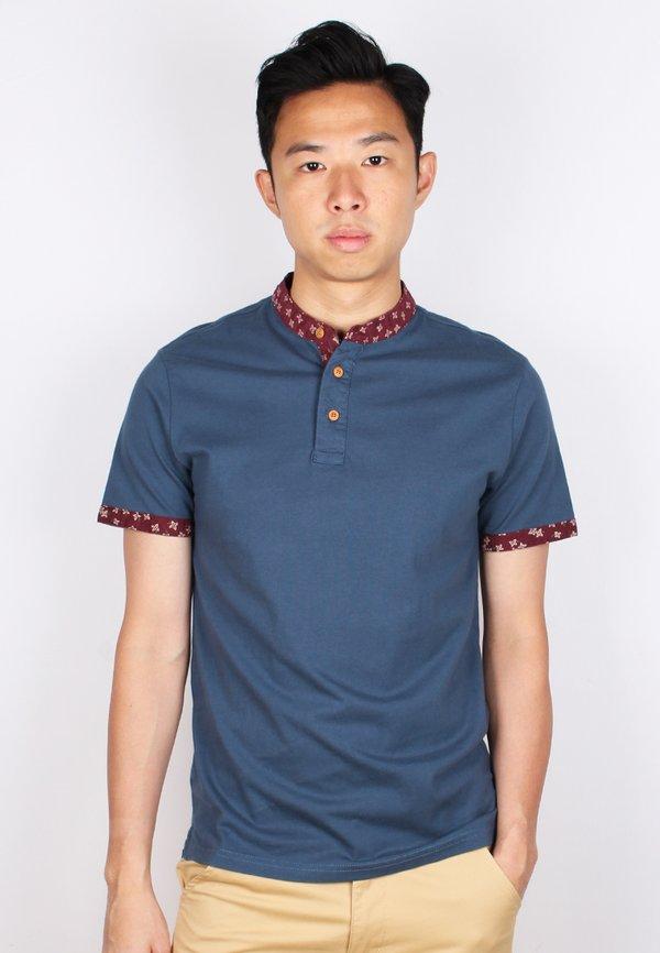 Floral Motif Mandarin Collar Polo T-Shirt BLUE (Men's Polo)