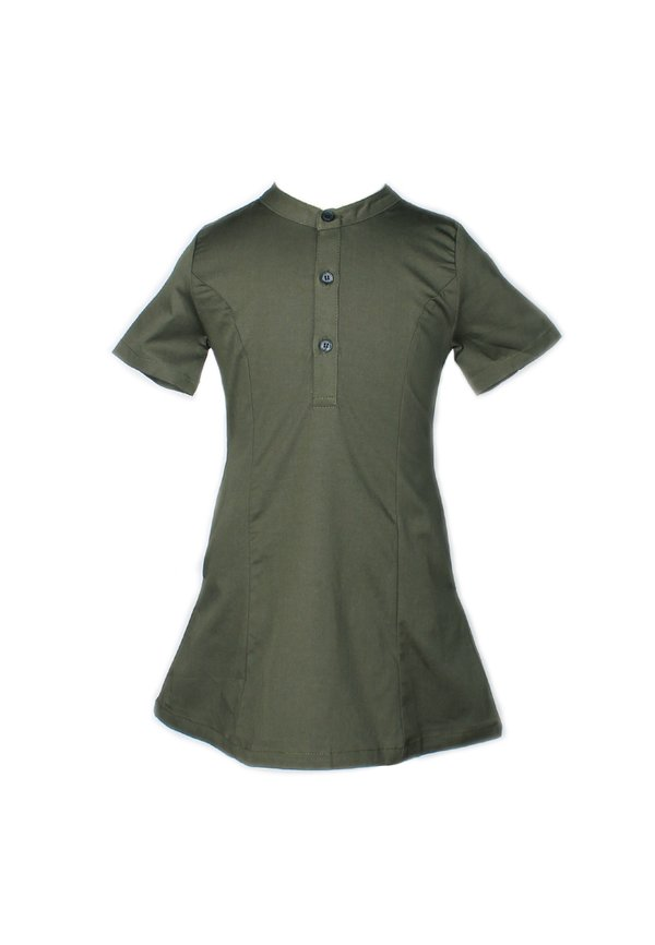 Brushed Cotton Half-Button Down Dress GREEN (Girl's Dress)