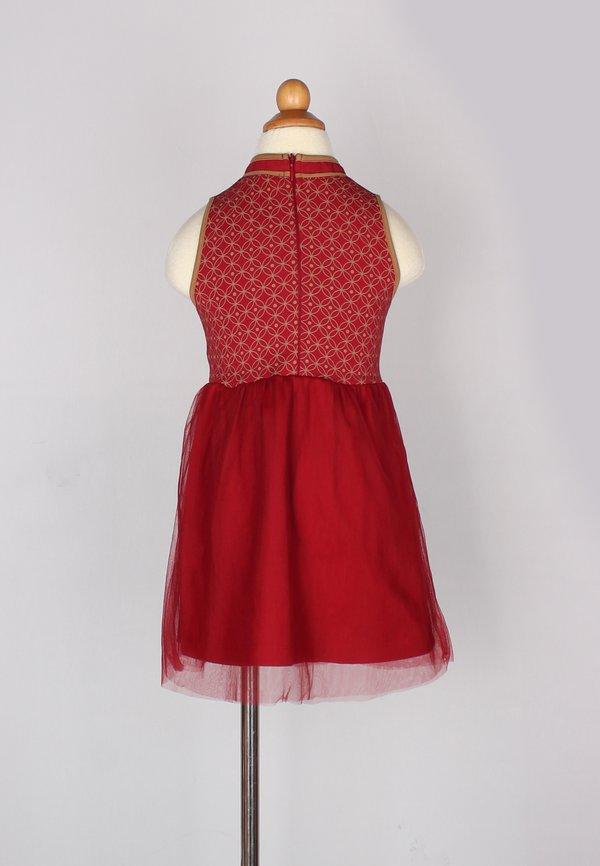 Oriental Rings Print Cheongsam Inspired Bubble Dress RED (Girl's Dress)