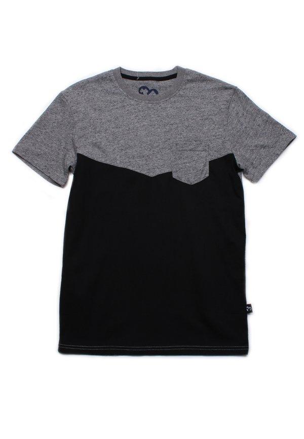 Two-Tone Chevron T-Shirt with Pocket GREY (Men's T-Shirt)