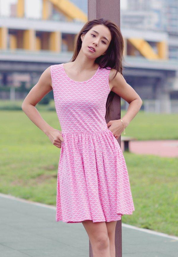 Oriental Fan Print Skater Dress PINK (Ladies' Dress)