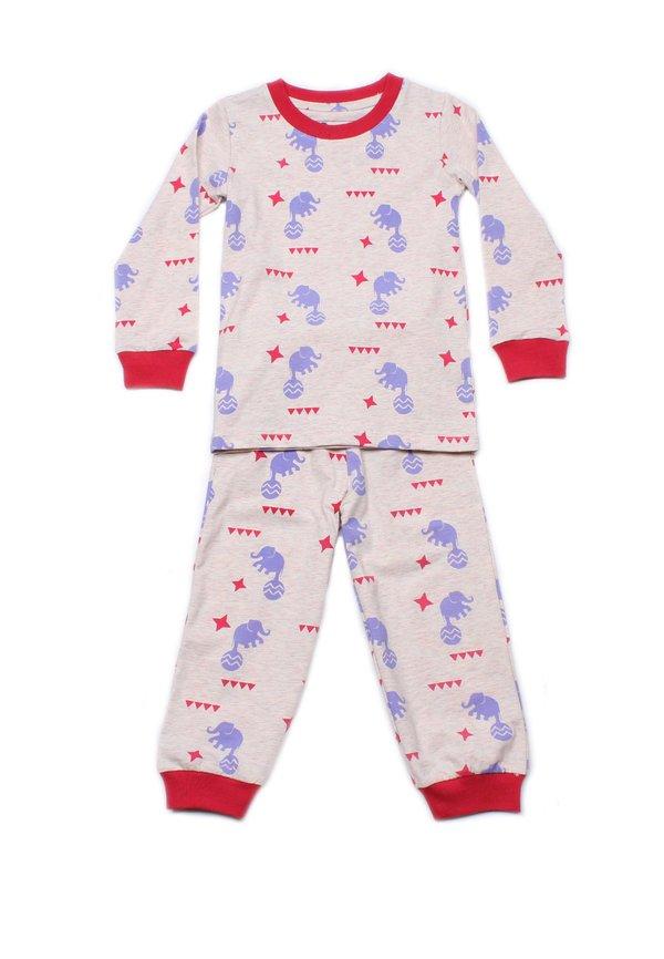 Elephant Print Pyjamas Set HEATHER (Kids' Pyjamas)