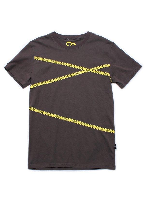 Caution Tape Print T-Shirt GREY (Men's T-Shirt)