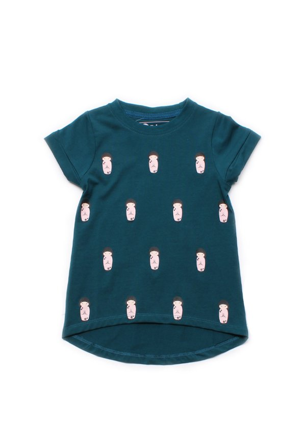 Japanese Doll Print T-Shirt TURQUOISE (Girl's Top)