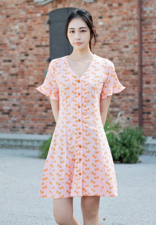 Mandarin Orange Print Button Dress PINK (Ladies' Dress)
