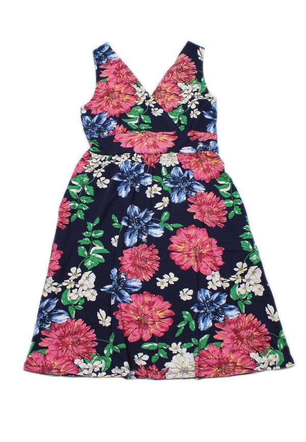 Floral Print Criss Cross Dress NAVY (Ladies' Dress)