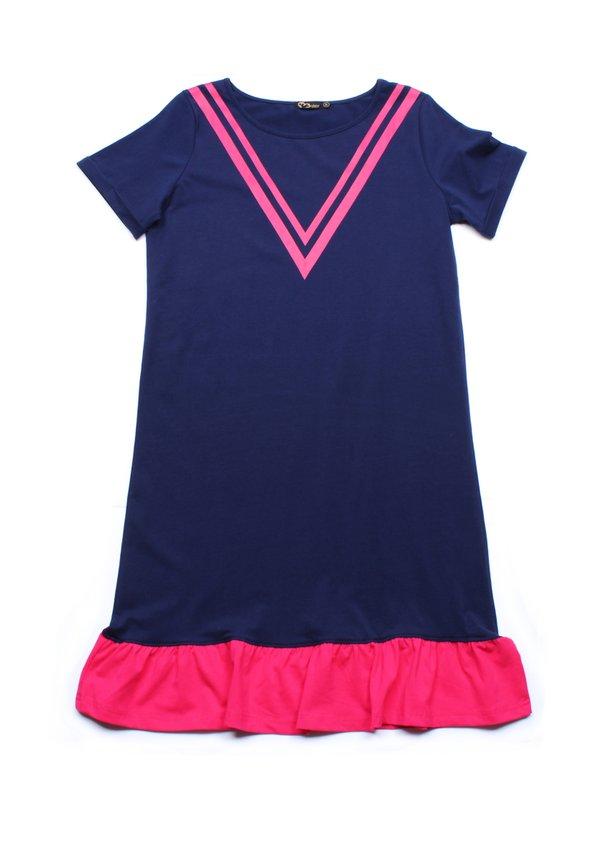Chevron Design Shift Dress NAVY (Ladies' Dress)
