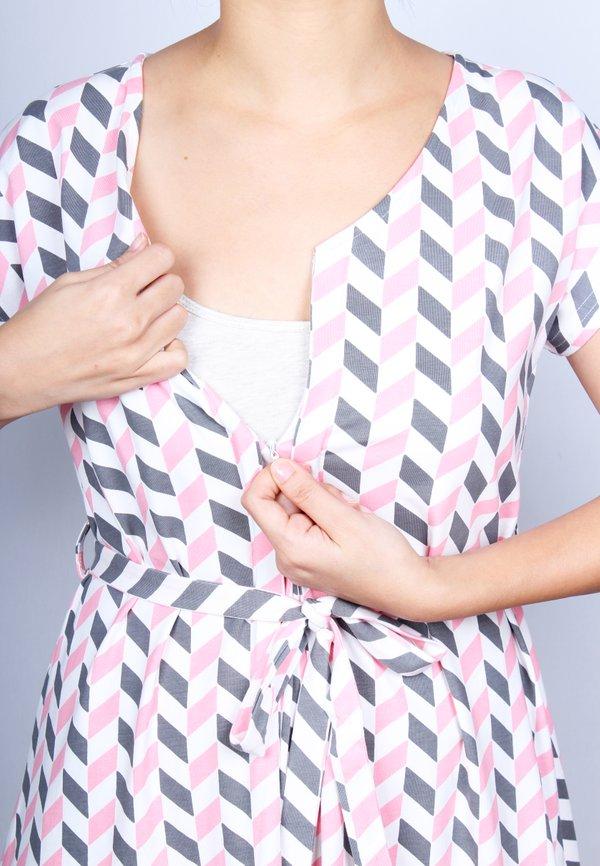 Geometric Chevron Print Nursing Flare Dress PINK (Ladies' Dress)