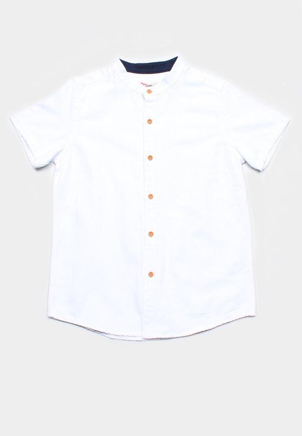 Brushed Cotton Classic Mandarin Collar Short Sleeve Shirt WHITE (Boy's Shirt)