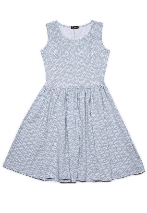 Diamond Chevron Geometric Print Skater Dress BLUE (Ladies' Dress)