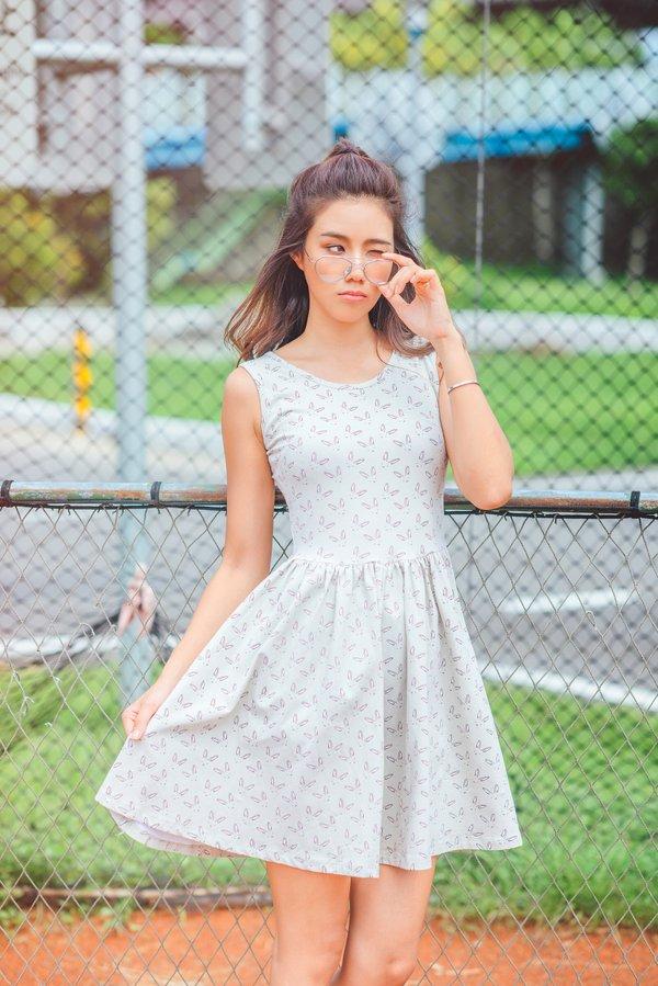 Rabbit Ears Print Skater Dress GREY (Ladies' Dress)
