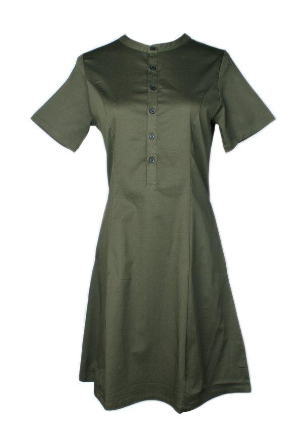 Brushed Cotton Half-Button Down Dress GREEN (Ladies' Dress)
