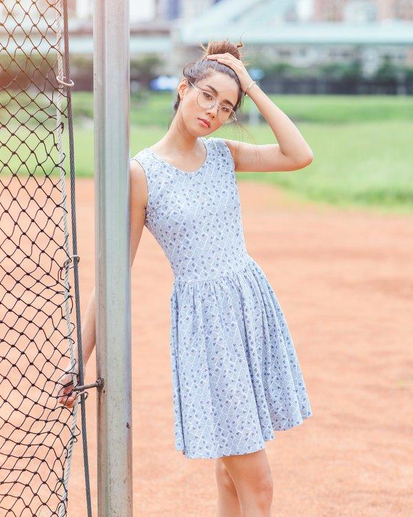 Triangular Geometric Print Skater Dress WHITE (Ladies' Dress)