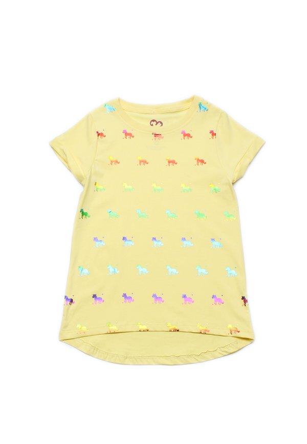 Shiny Psychedelic Unicorns Print T-Shirt YELLOW (Girl's Top)