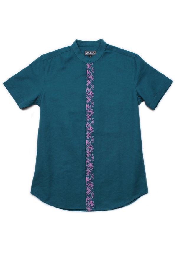 Floral Patterned Print Mandarin Collar Short Sleeve Shirt TURQUOISE (Men's Shirt