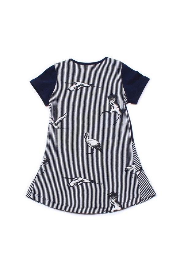 Crane Print Shift Dress NAVY (Girl's Dress)