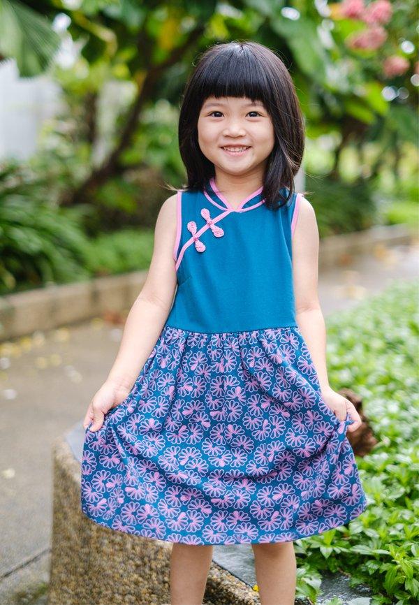 Floral Patterned Print Cheongsam Inspired Dress TURQUOISE (Girl's Dress)