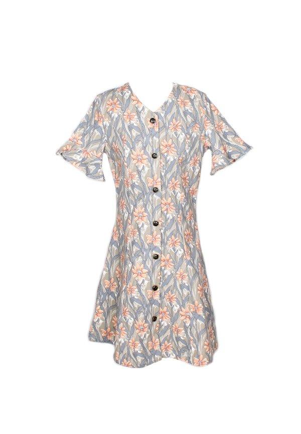 Floral Print Button Down Dress GREY (Girl's Dress)