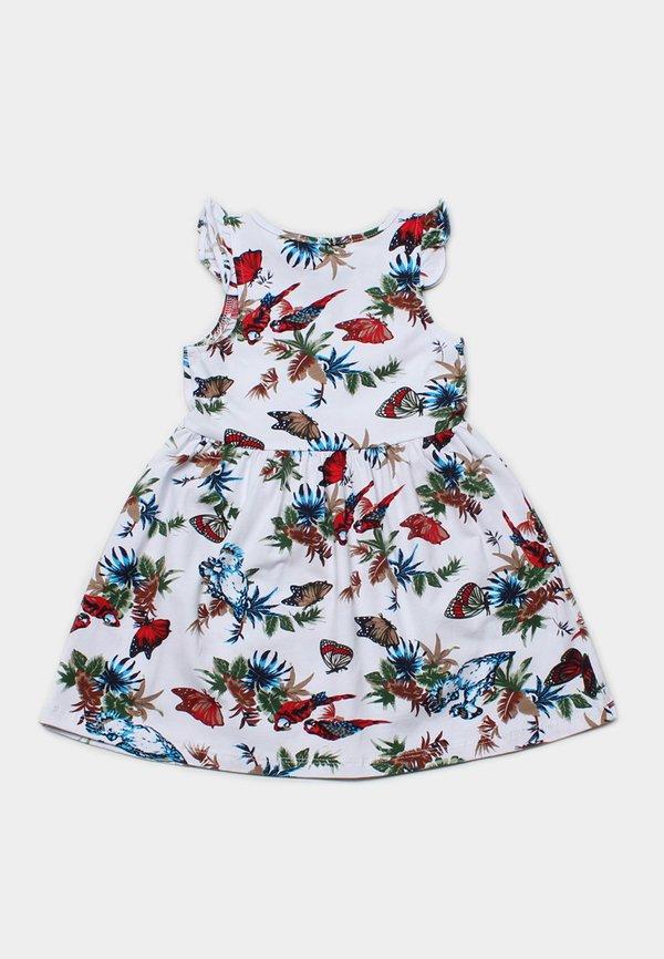 Floral Birds Print Dress WHITE (Girl's Dress)