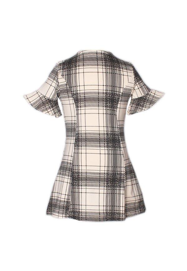 Checkered Button Down Dress WHITE (Girl's Dress)
