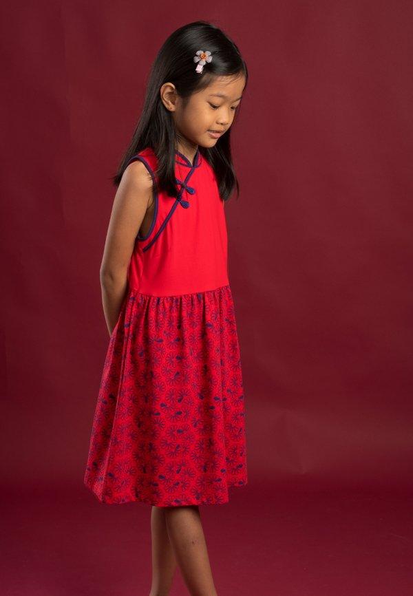 Floral Patterned Print Cheongsam Inspired Dress RED (Girl's Dress)