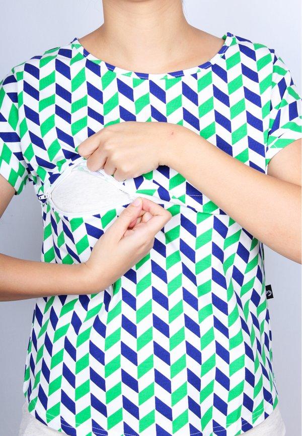 Geometric Chevron Print Nursing Blouse GREEN (Ladies' Top)