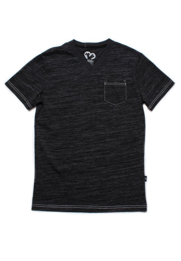 Contrast thread V-neck T-Shirt BLACK (Men's T-Shirt)