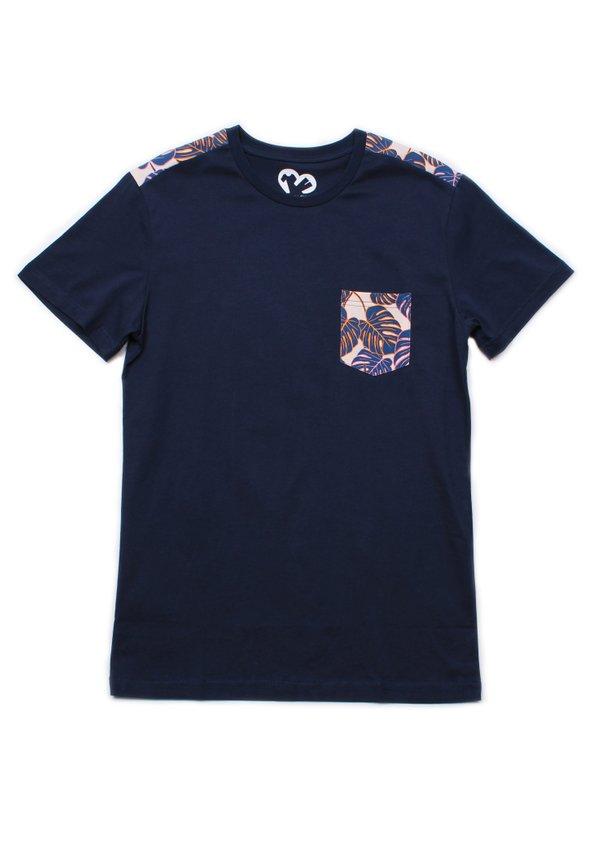 Neon Botanical Print T-Shirt NAVY (Men's T-Shirt)