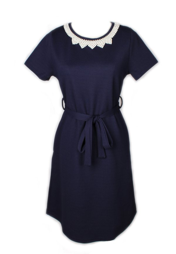 Faux Pearl Neckline Flare Dress NAVY (Ladies' Dress)