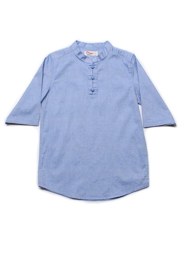Oriental Style 3/4 Sleeve Shirt BLUE (Boy's Shirt)